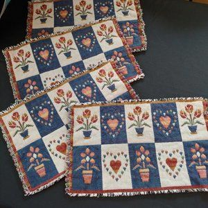 4 Vintage Placemats Hearts and Flowers Blue, Red